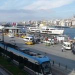 Eminonu ferry terminal with tram in foreground