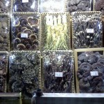 Variety of packaged mushrooms in an upscale supermarket