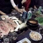 Samgyeopsal (streaky pork belly) fried on table-top hot plate (this was a group dinner organized by my hostel owner)