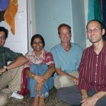 Fellow couchsurfers Mithun, Veena (both from Mumbai) and Yann (from France) - at a student musicians' house party