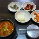 Stew (jjigae) meal at Tobang resto on Insadong-gil (W6000/$5.30) inc. crab in red sauce as a side dish, and rice in that metal bowl with a lid