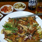 Seafood and spring onion pancake (with inc. side dishes) W10000/$9 plus a local Cass beer (W6000/$5), in a Gwangjang Market stall (I'm pretty sure I was overcharged here)