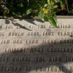 "Dedication plaque outside of church (""In the era of creation of the world 6681, 1482 years after our lord JC...""""). Um, right."