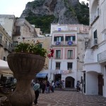 View from the fountain in the piazza in Atrani, looking up to the west (our hotel is in the centre back)