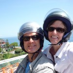 Susan and I on scooter on the way to Praiano