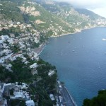 Positano from eastern lookout (yes, there are 2 beaches) with Praiano in the distance