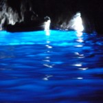 Inside the Blue Grotto (grotta azurra) with the one opening (the bright light on the left is a reflection of the opening on another rowboat)