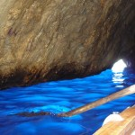 """Blue Grotto as we head back towards the exit (that little """"white"""" hole)"""
