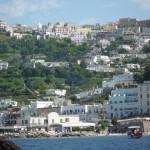 Capri from the ferry (Marina Grande down below; Capri Town up above)