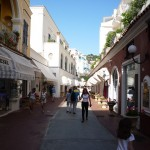 Pedestrian street lined with luxury shops and expensive restos in Capri Town